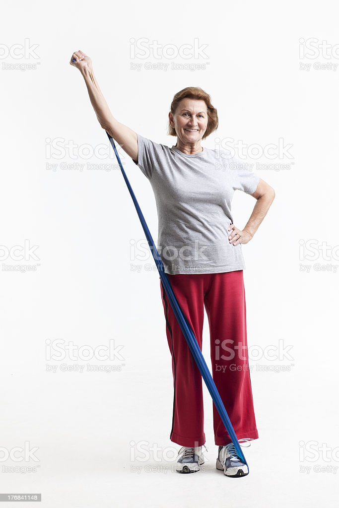 stretching with a rubberband stock photo
