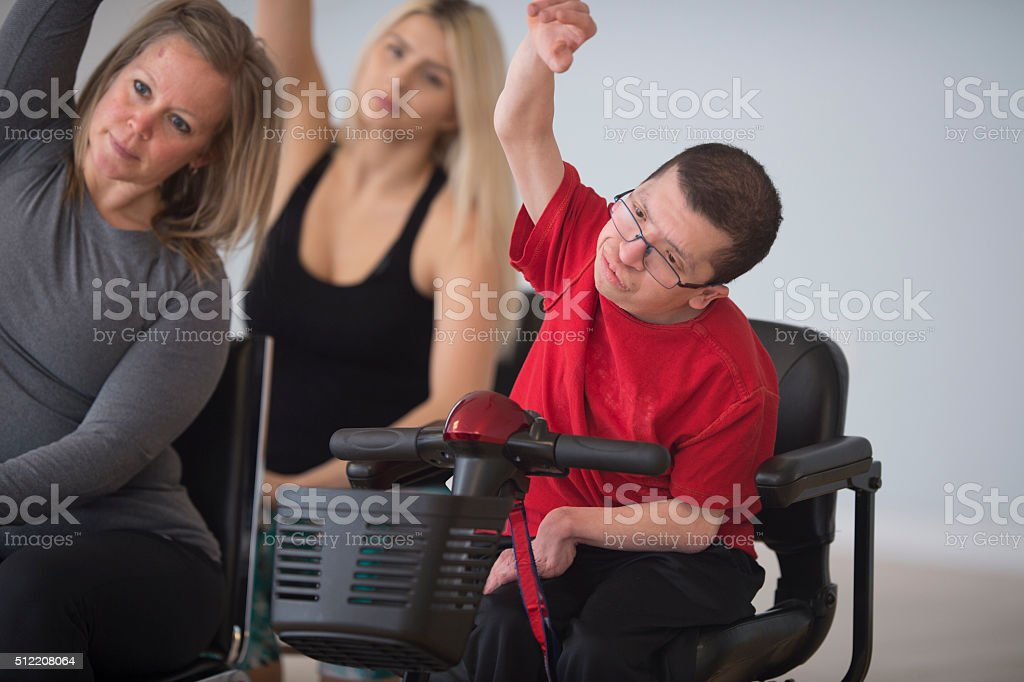 Stretching with Hands Raised stock photo