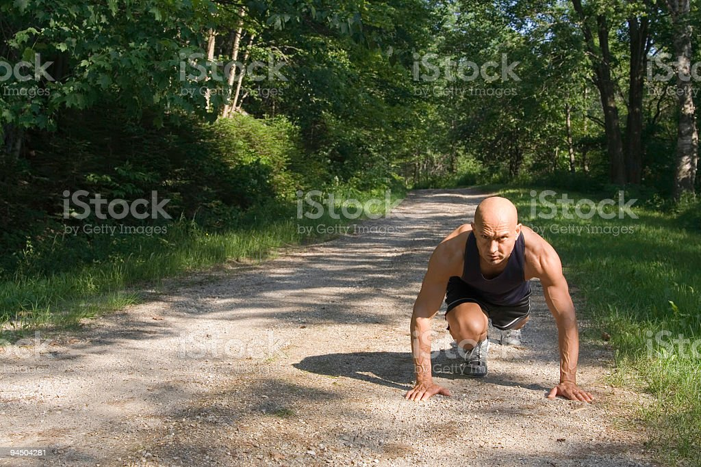Stretching/Setting for Sprint stock photo