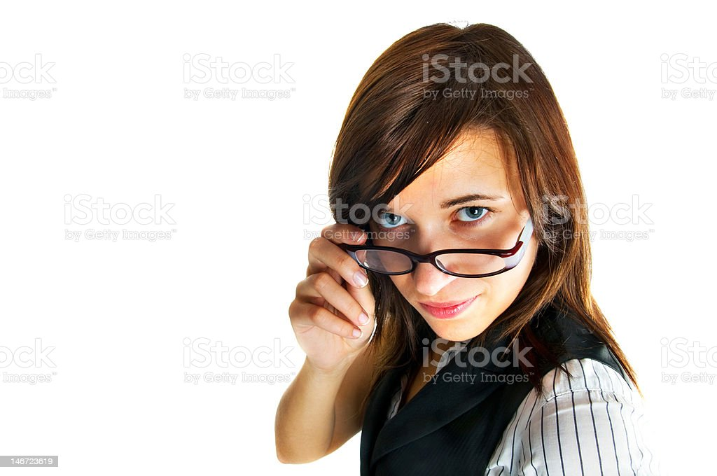 Strict-looking female teacher royalty-free stock photo