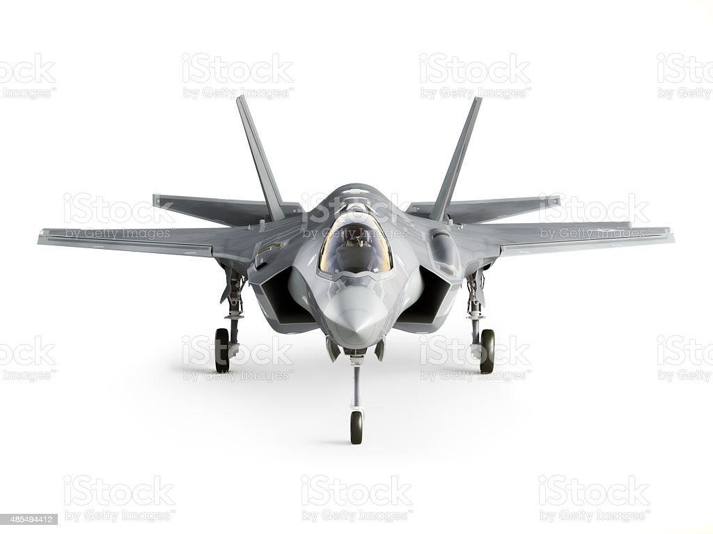 F35 strike aircraft front stock photo