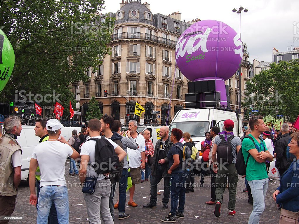 Strike and protest in Paris stock photo