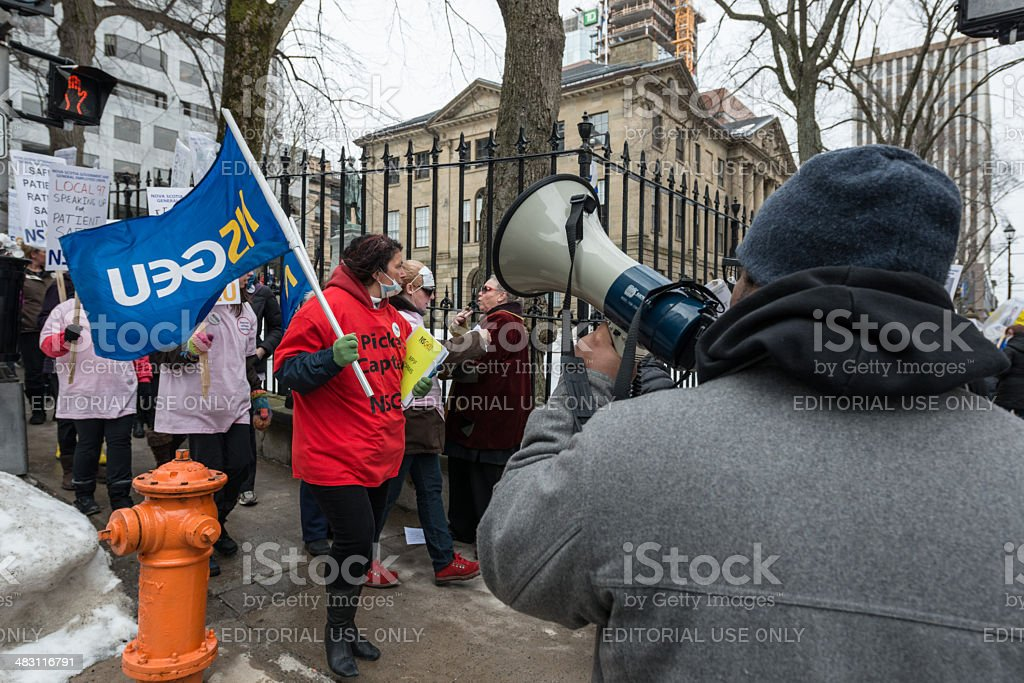 NSGEU Strike at Province House royalty-free stock photo