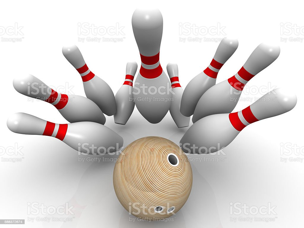 Strike. Bowling ball knocks down all the pins stock photo