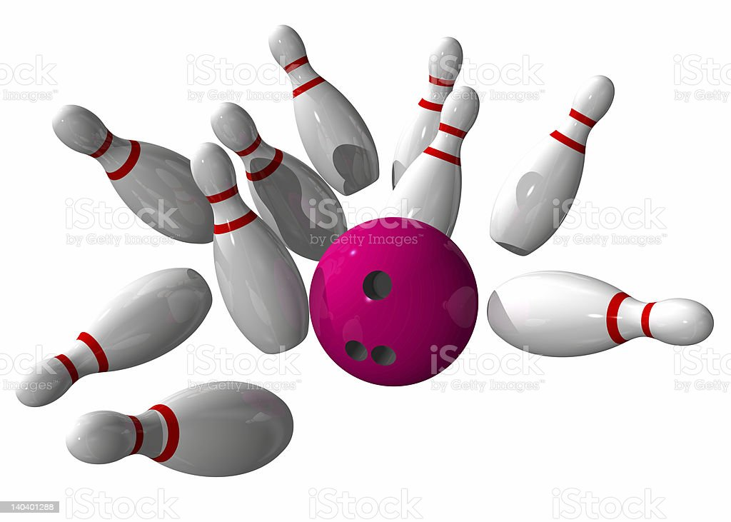 Strike during a bowling game royalty-free stock photo