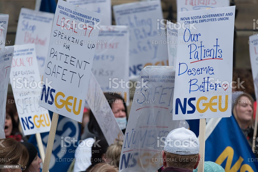 NSGEU Strike Signs royalty-free stock photo