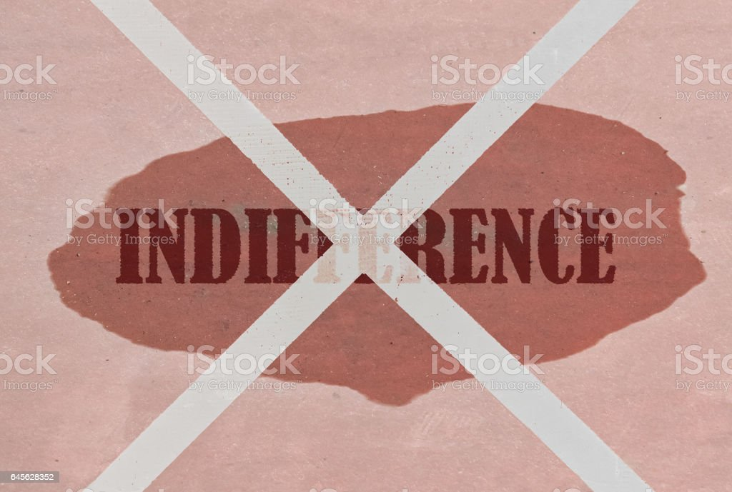 Strikethrough word Indifference stock photo