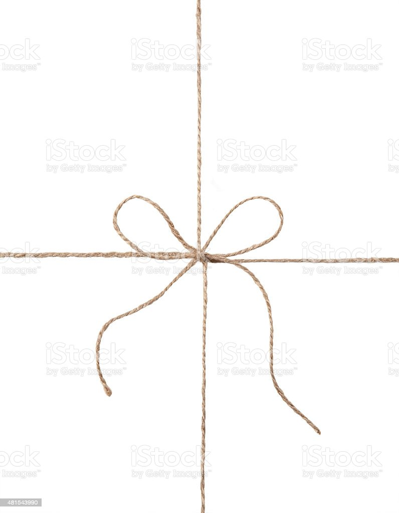 String and bow isolated on white background stock photo