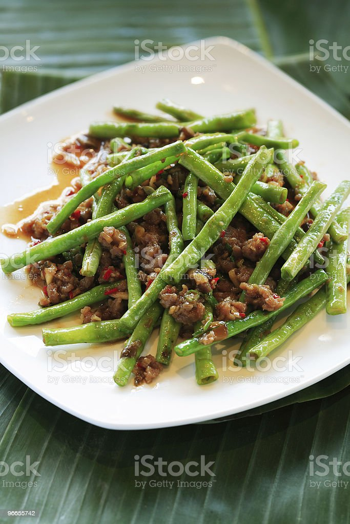 string beans and beef stock photo
