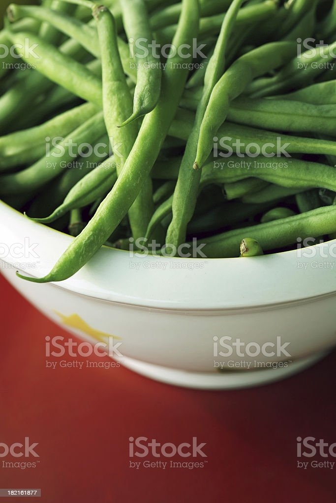 String Beans on Red royalty-free stock photo