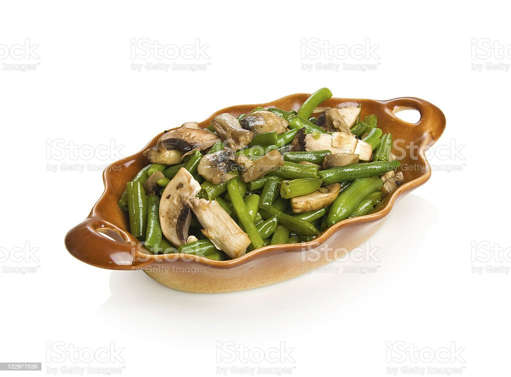 String beans with mushrooms stock photo