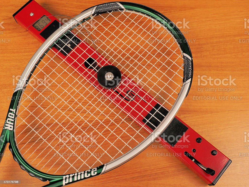 String bed stiffness of a Tennis frame is measured stock photo