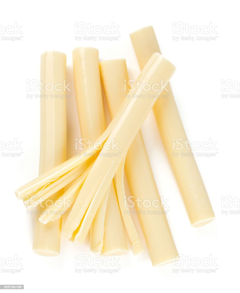 string cheese isolated on white stock photo