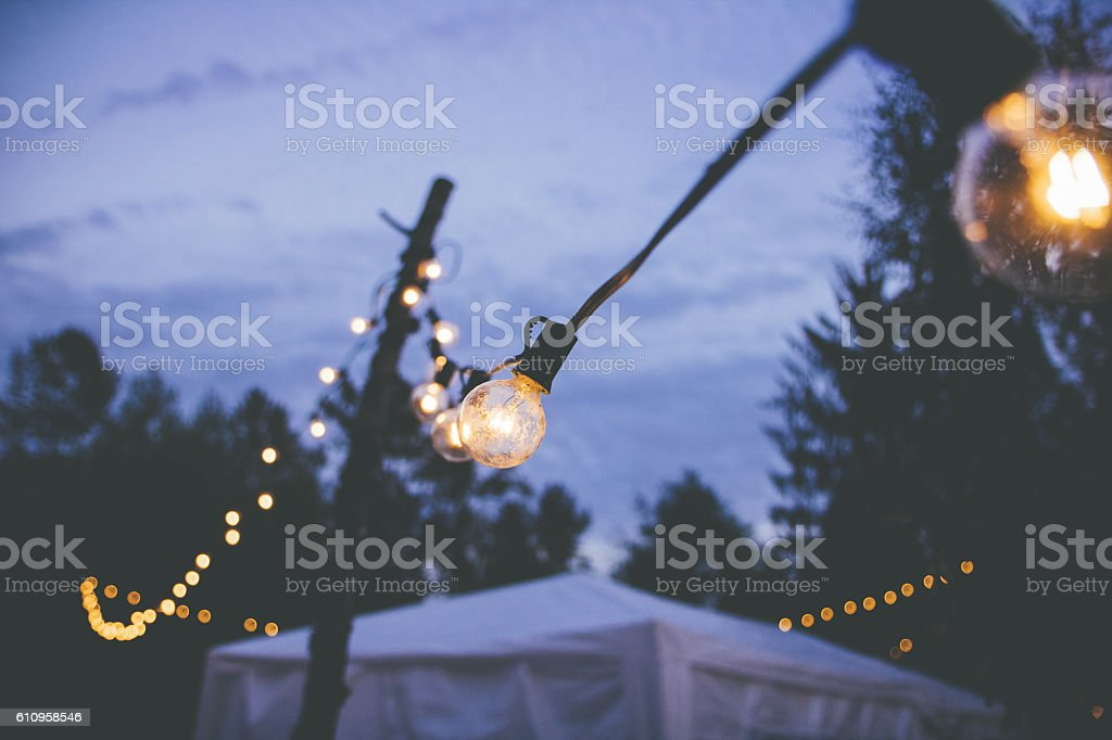String Lights at an outdoor event stock photo