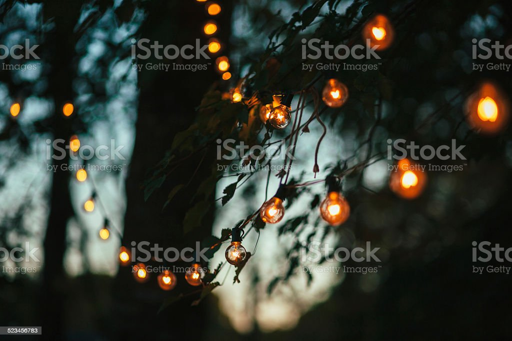 String lights in the backyard 3 stock photo