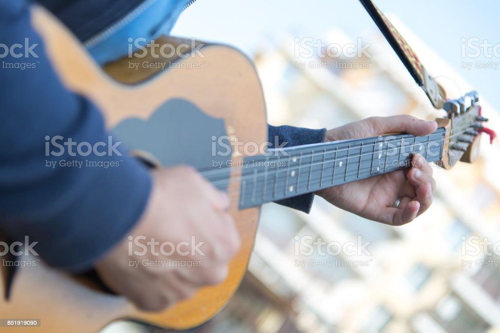 String Musical Instrument. Tamboura. Closeup