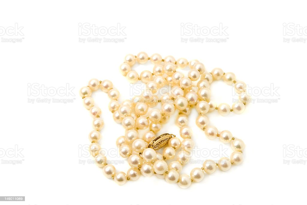 String of cultured saltwater pearls stock photo