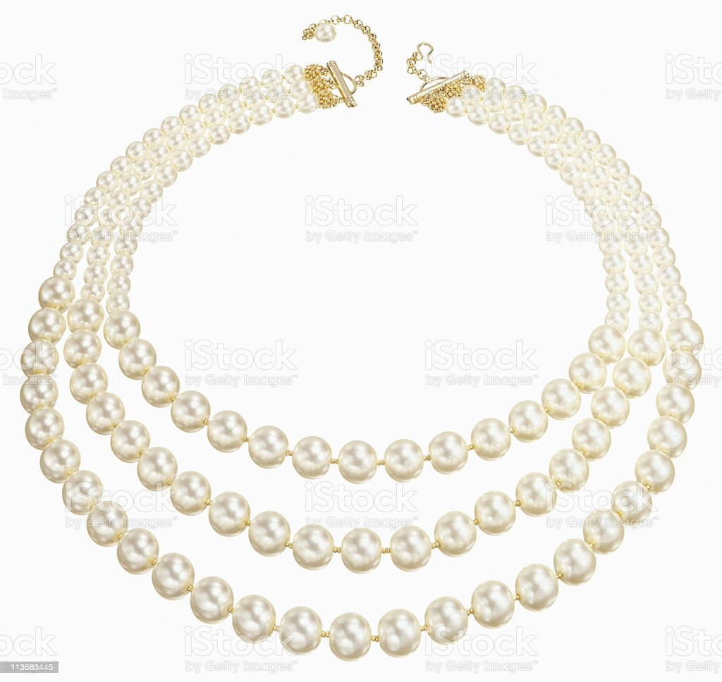 string of pearls cut out on white stock photo