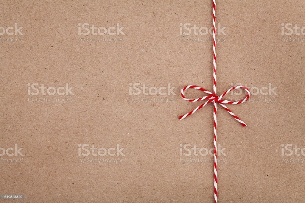 String or twine on kraft paper, christmas, new year concept stock photo