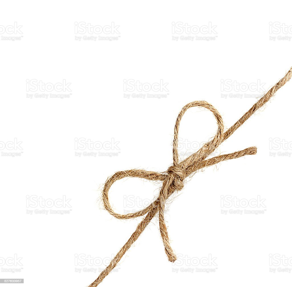 string or twine tied in a bow isolated on white stock photo