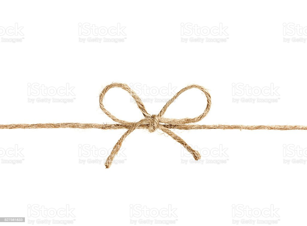 string or twine tied in a bow isolated stock photo