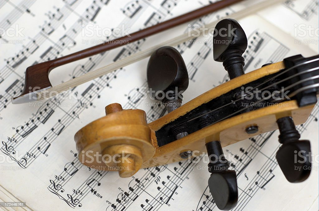 stringed instrument and notes stock photo