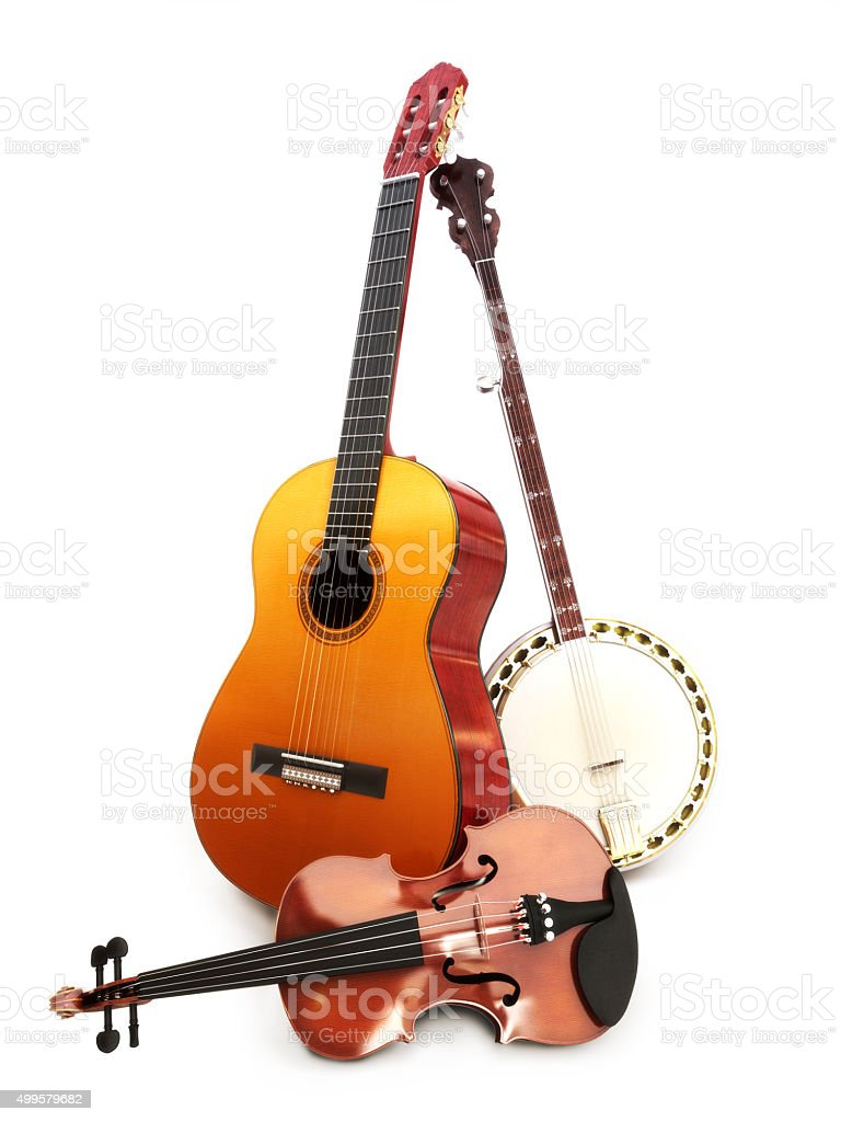 Stringed music instruments Guitar, banjo, violin on a white background. stock photo