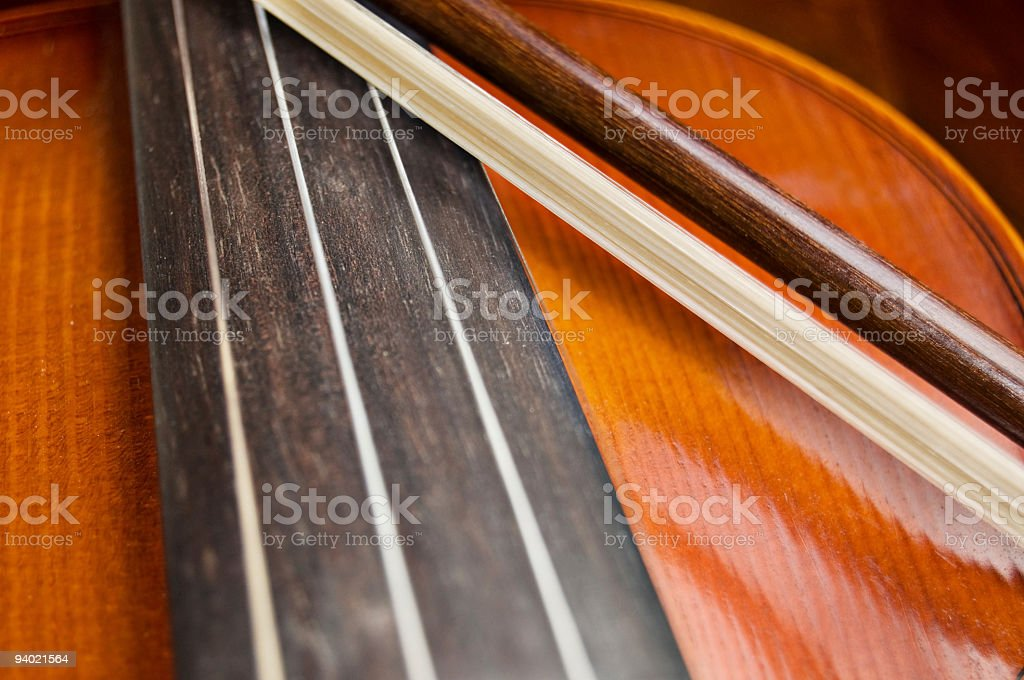 Stringed Violin and Bow stock photo