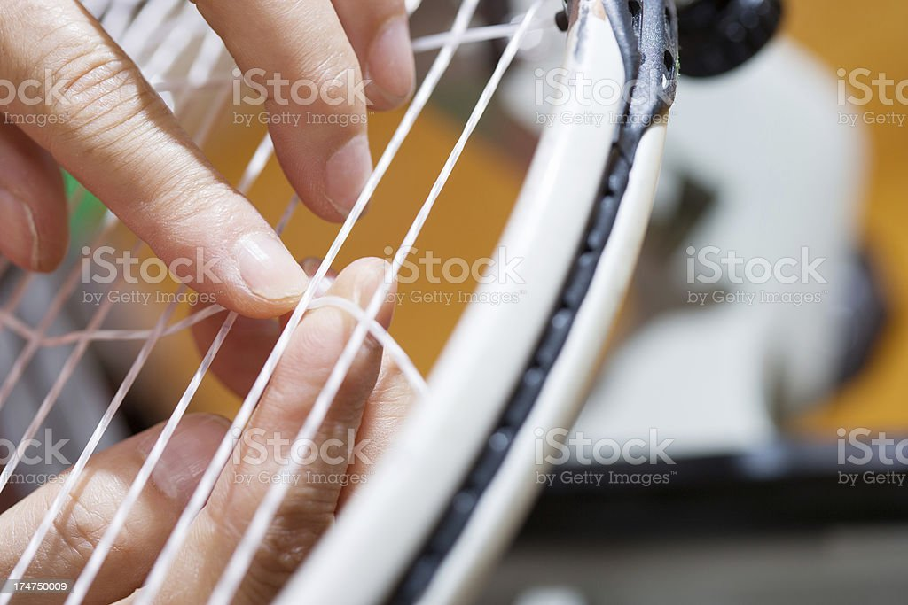 Stringing tennis racquet royalty-free stock photo