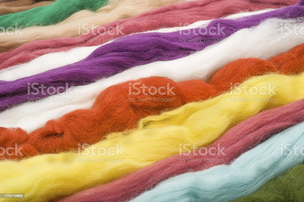 Strings of colored wool stock photo