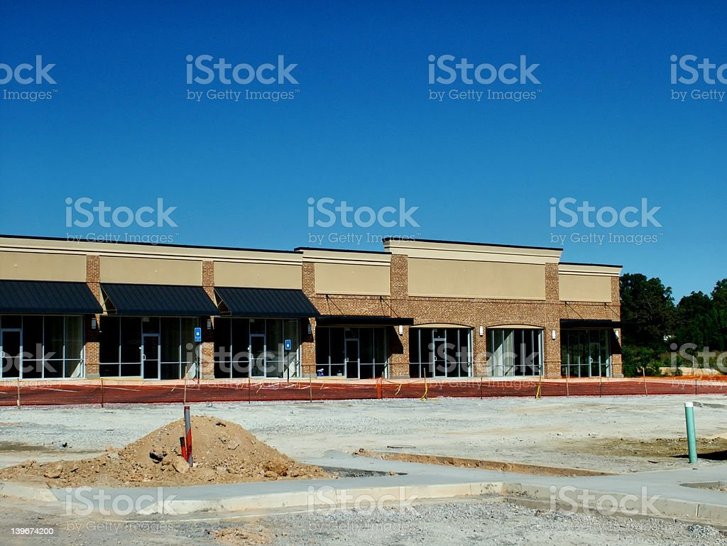 Strip Center Construction Long View royalty-free stock photo