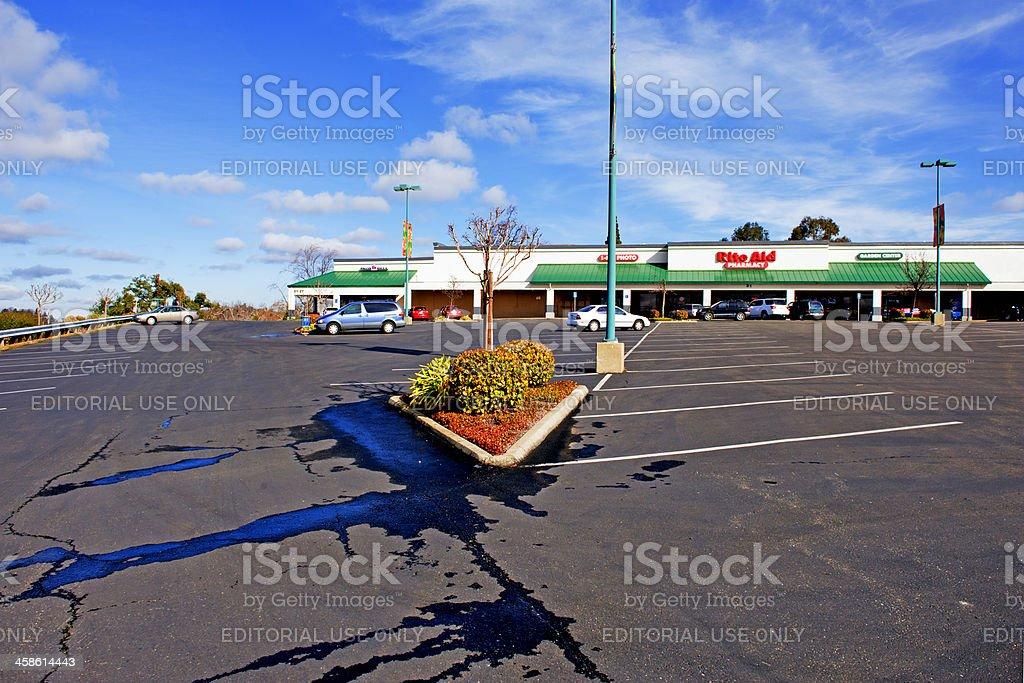 Strip Center Parking Lot stock photo
