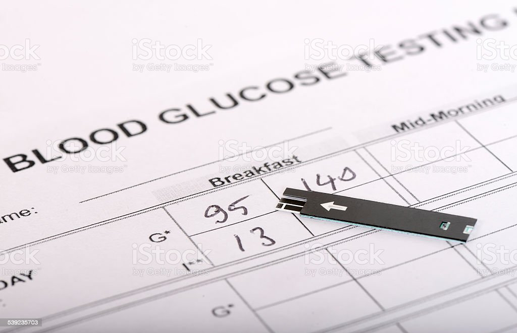Strip for blood glucose test stock photo
