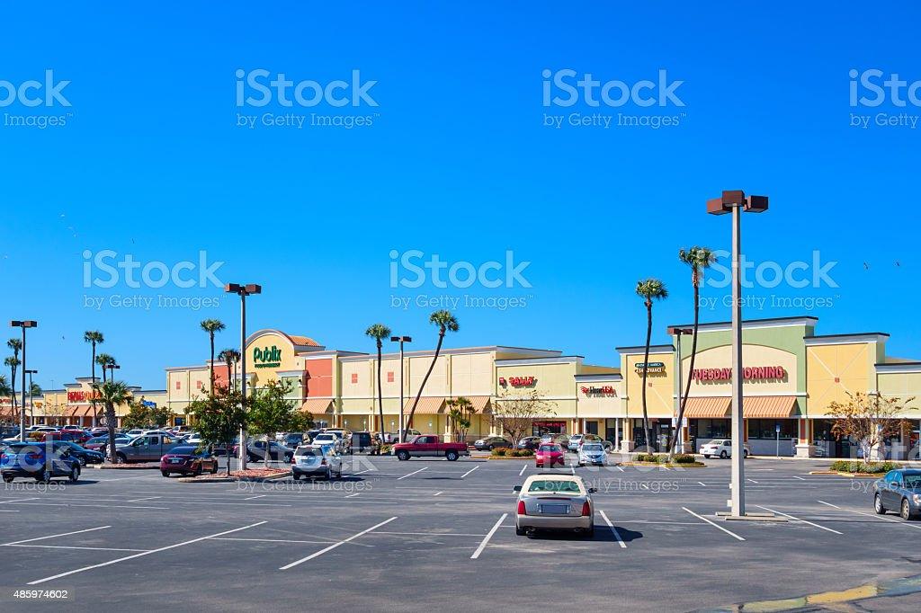 Strip Mall Plaza Florida USA stock photo