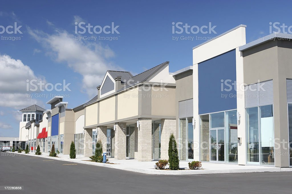 Strip Mall Store Building Exteriors royalty-free stock photo
