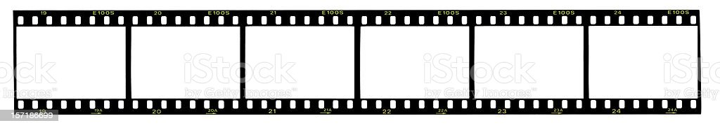 Strip of 35mm film, blank frames royalty-free stock photo