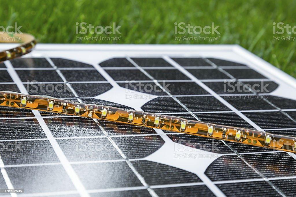 LED strip on photovoltaic solar panel royalty-free stock photo