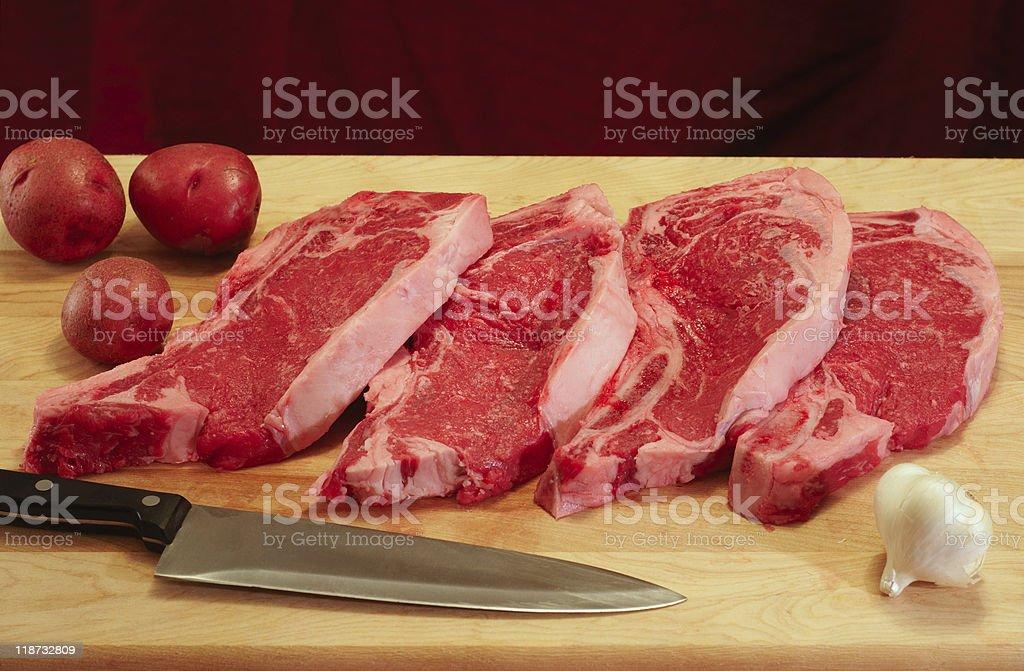 Strip steak dinner stock photo