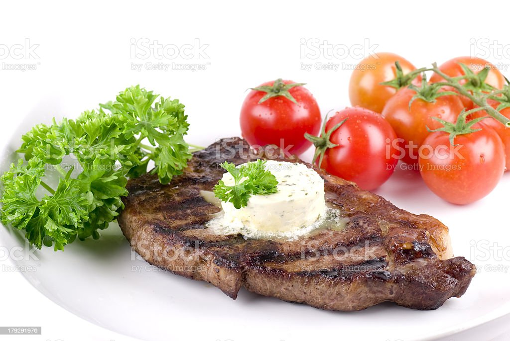 Strip Steak With Parsley Butter royalty-free stock photo