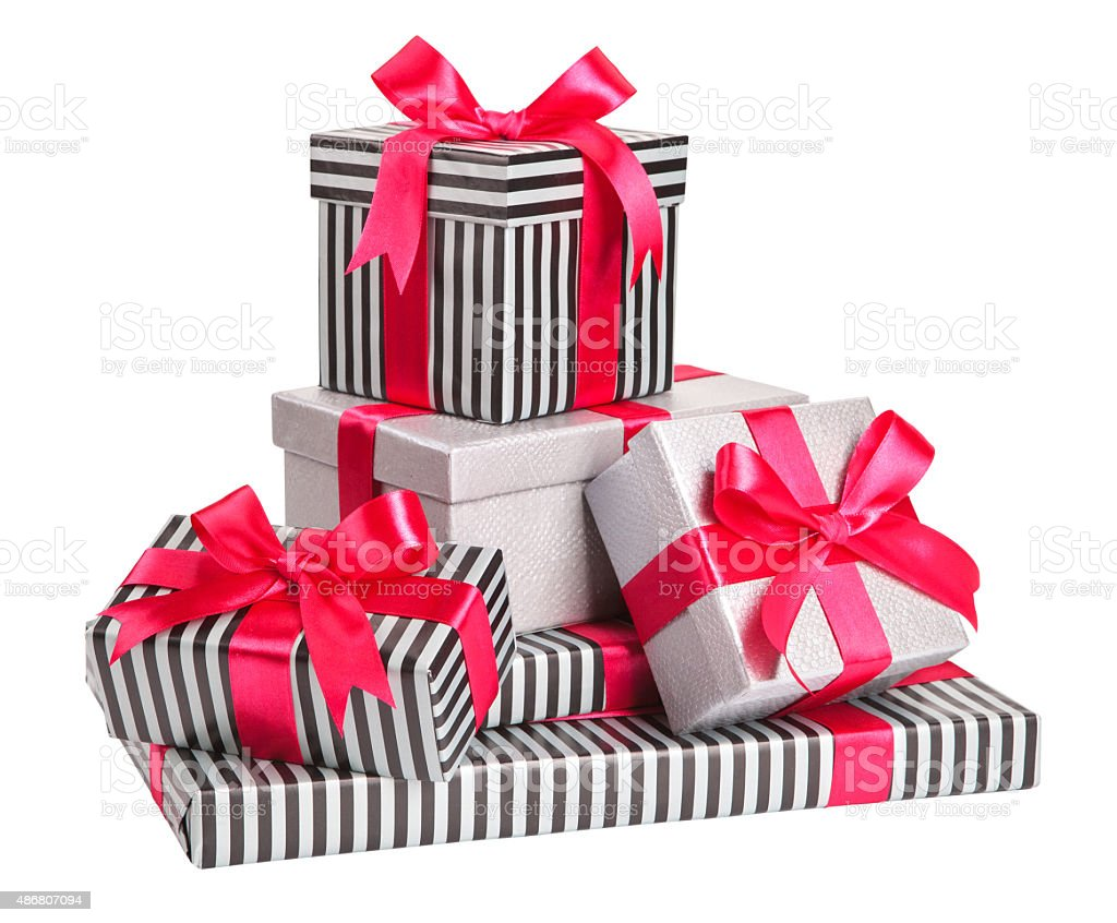 striped and grey boxes with bows isolated on white stock photo