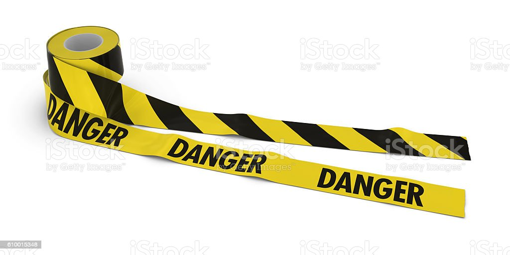 Striped Barrier Tape and DANGER Tape Rolls unrolled across white stock photo