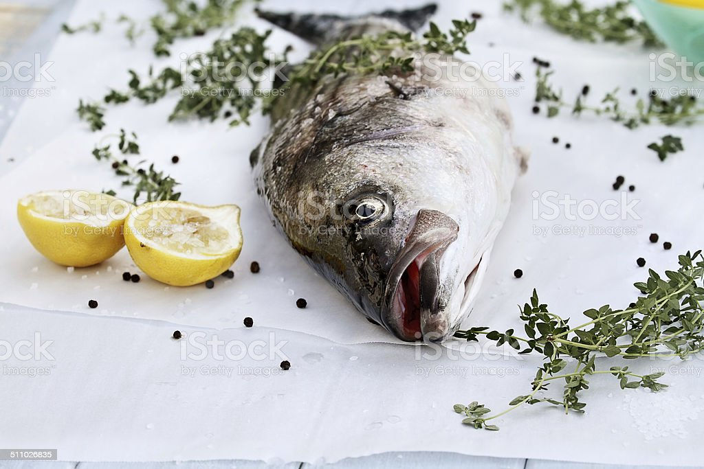 Striped Bass and Ingredients stock photo