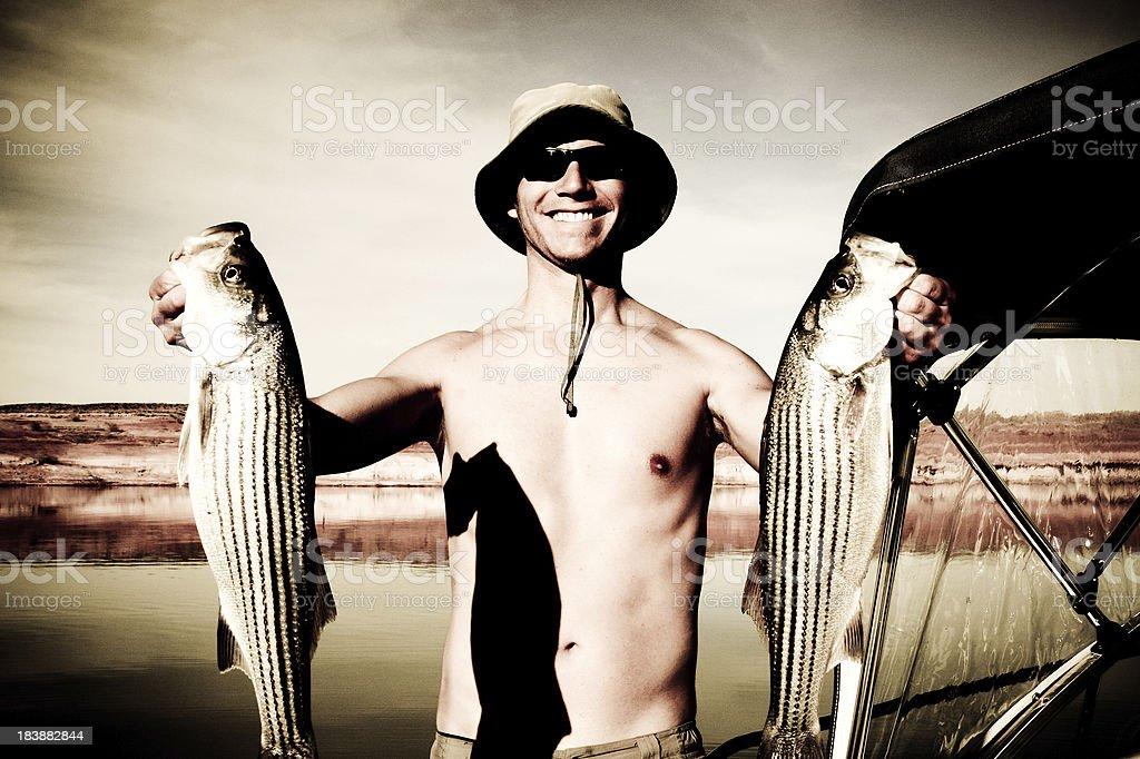 Striped Bass Fishing on Lake Powell royalty-free stock photo