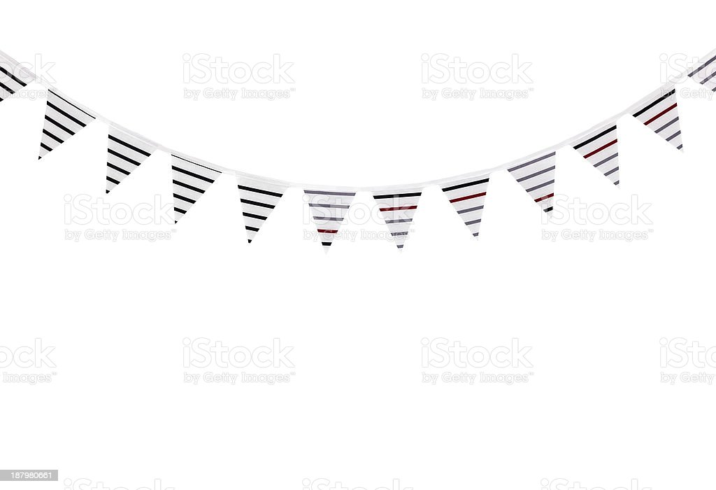 Striped bunting on white background stock photo