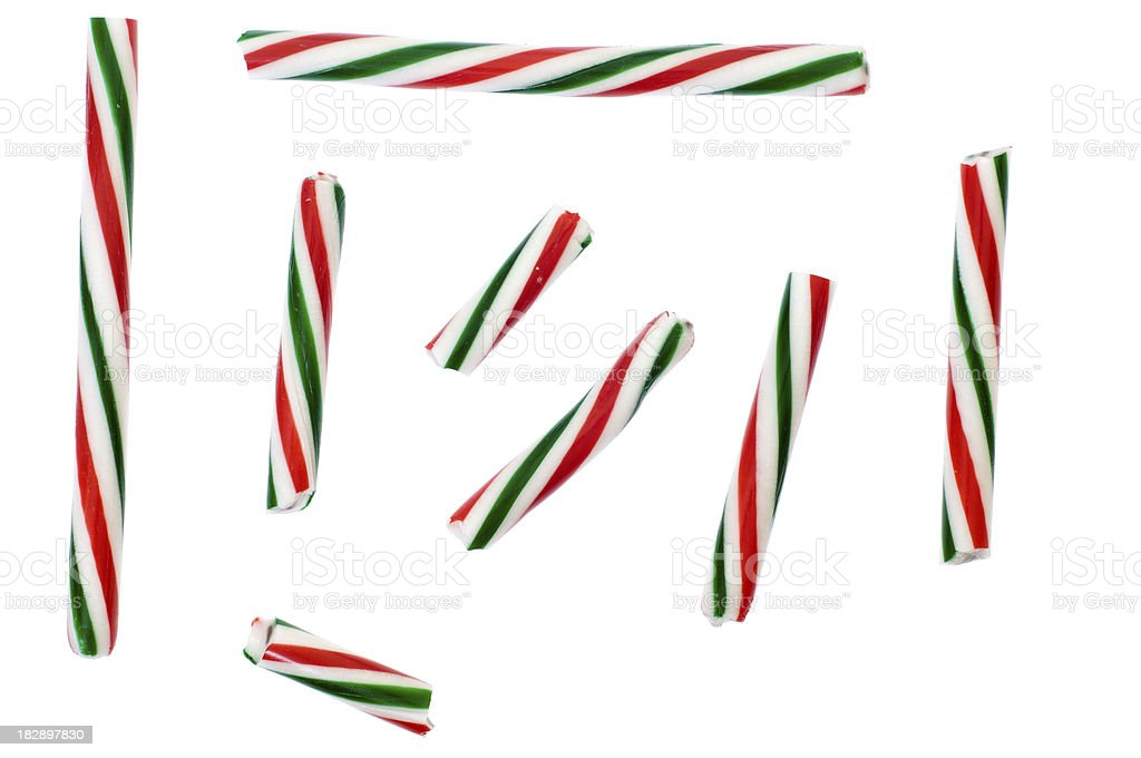 Striped Candy Cane Stick Samples royalty-free stock photo