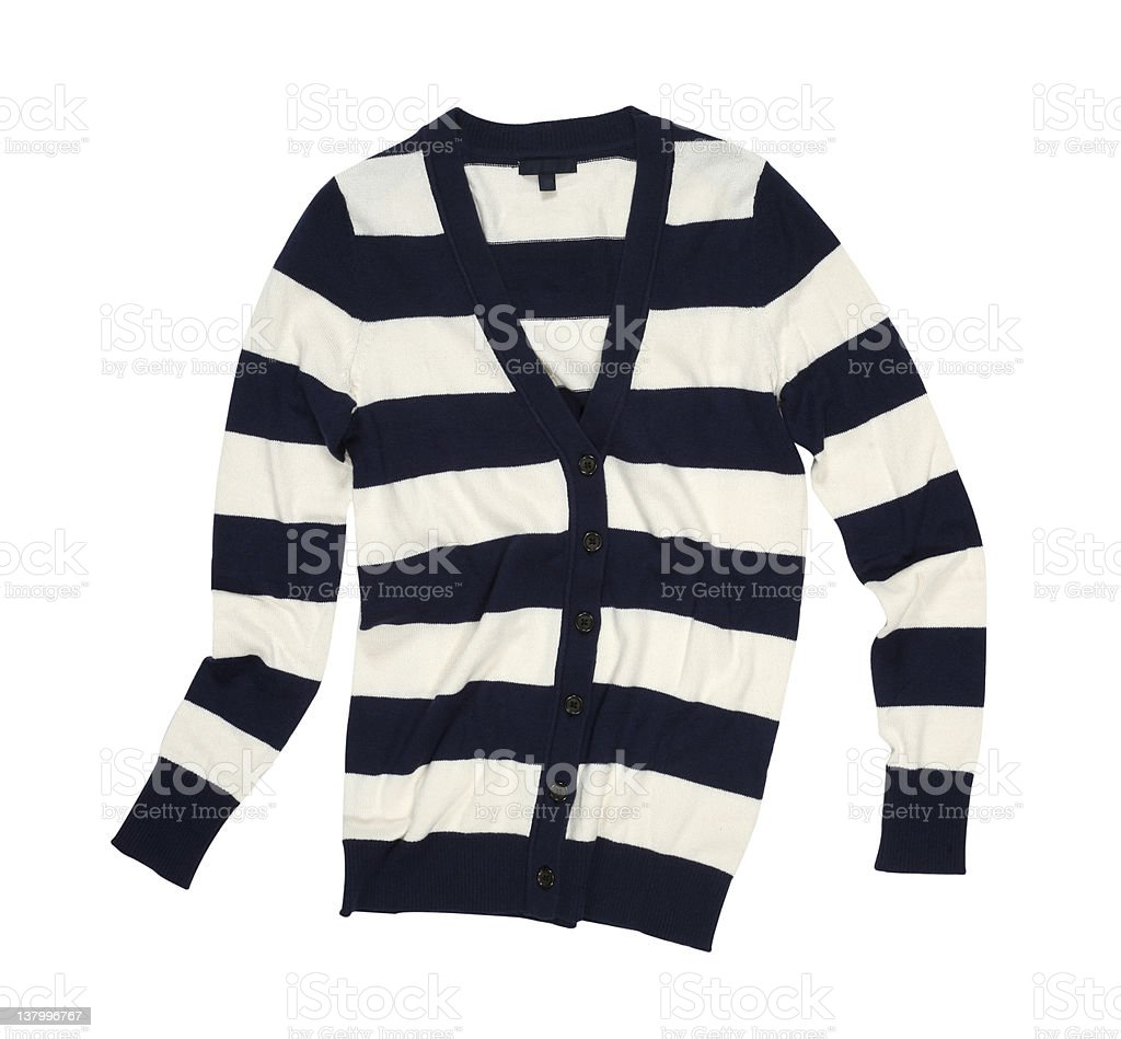 Striped cardigan in black and white stock photo