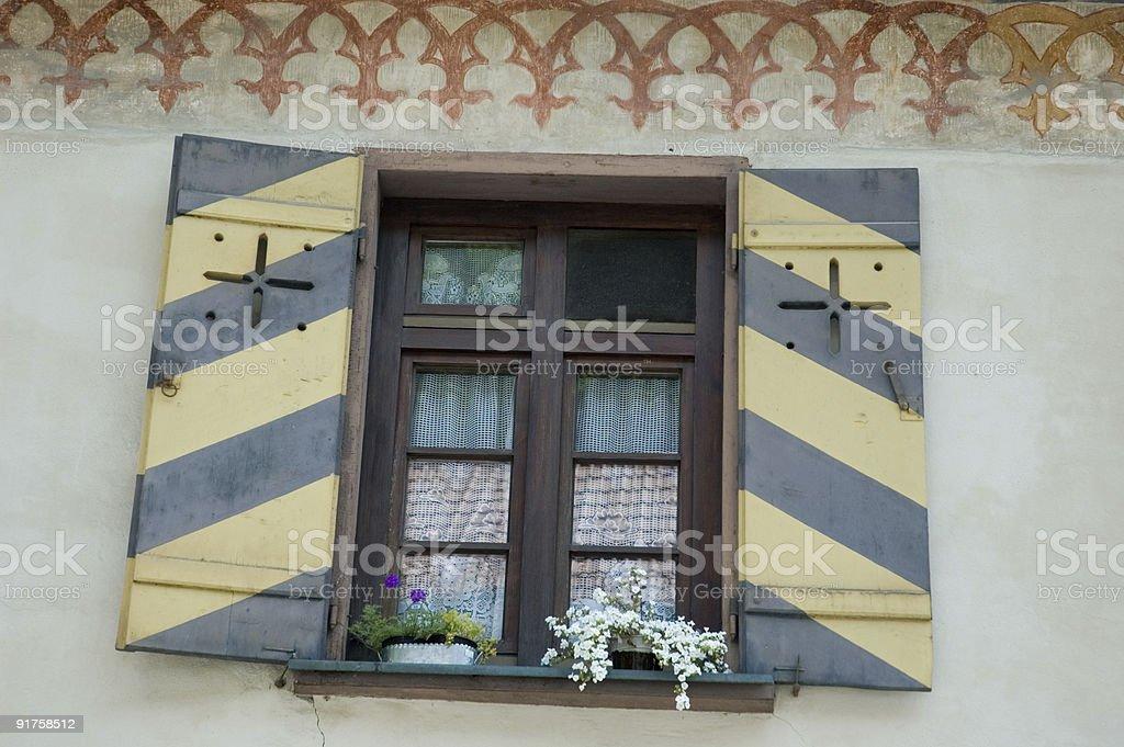 Striped castle shutters stock photo
