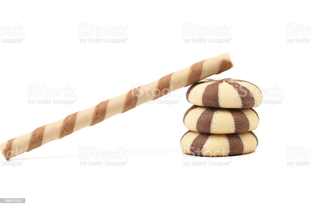 Striped chocolate wafer rolls and stake biscuits. royalty-free stock photo