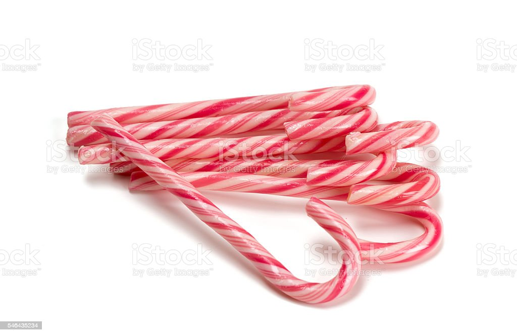 Striped Christmas candies stock photo