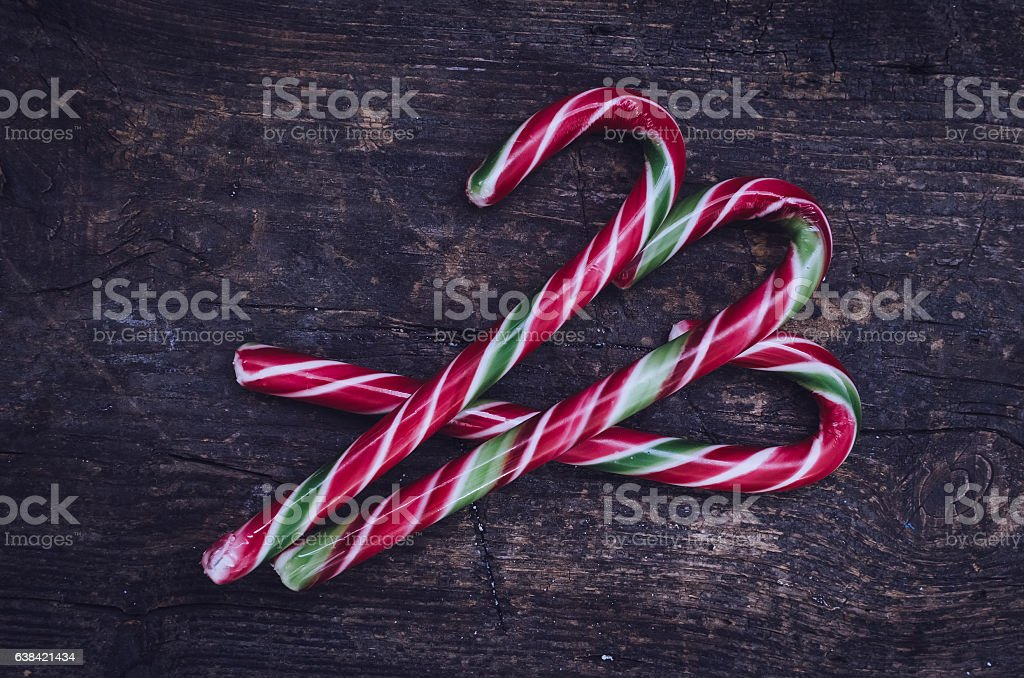 Striped Christmas candy canes stock photo